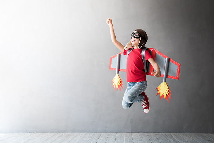 kid with flying rocket